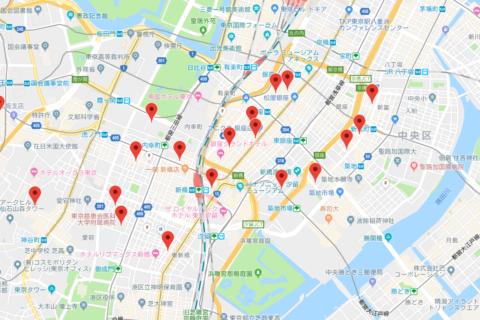 google maps api ドラッグする度にスポットを検索する地図
